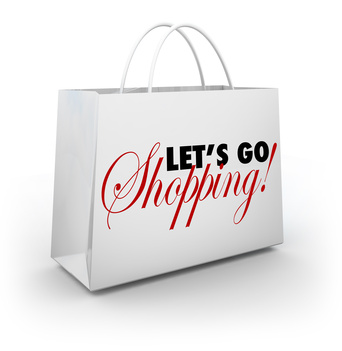 Let's Go Shopping White Merchandise Bag Words